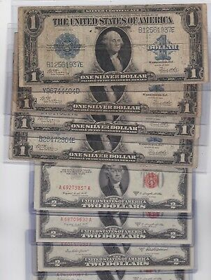 1923 $1 silver certificate FR-237, Horse-Blanket & free note $2 Red Seal US note
