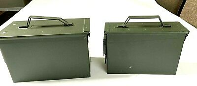 New Ammo Boxes Two Pack Cans .30 M19A1 .50 M2A1 Rounds Water Tight Save