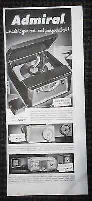 ADMIRAL RADIO-PHONOGRAPH AD - FROM SATURDAY EVENING POST 1950's