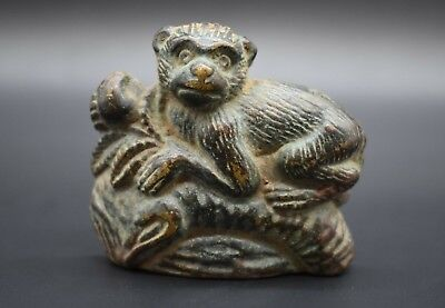 Antique bronze flat back monkey figurine C. 19th century AD