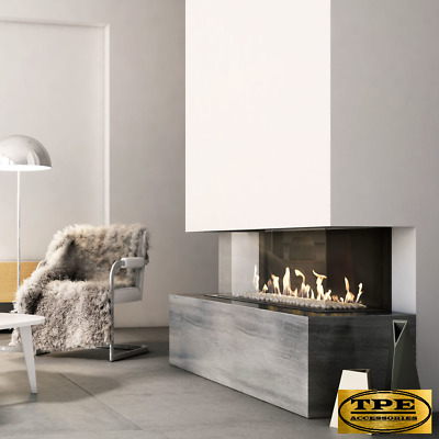 Leo 100 3 sided - Three sided Panoramic glass gas fireplace insert with flue