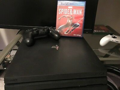 Sony PlayStation Pro 4 1TB Jet Black Console with Spiderman GAME!