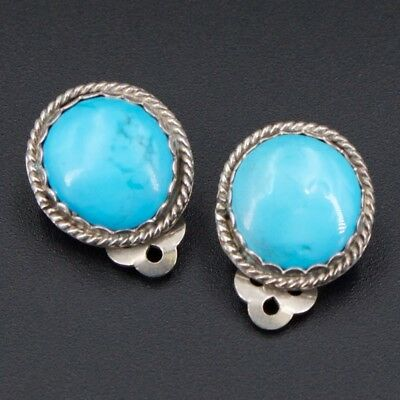 VTG Sterling Silver - NAVAJO Braided Turquoise Clip On Earrings - 8g