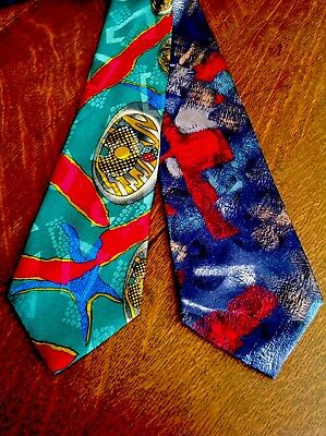 Lot Of 2 VINTAGE JOHNNY CARSON ABSTRACT ART NECK TIES