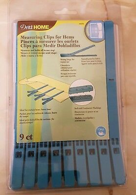 Dritz Home Measuring Clips For Hems - Ideal For Curtains, Blinds 9/pkg-blue