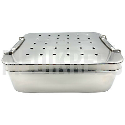 Stainless Steel Sterilization Tray w/ Perforated Lid 7 1/2'' x 6'' x 4''
