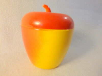 Vintage Fire King Glass Covered Sugar Bowl Red and Yellow Apple