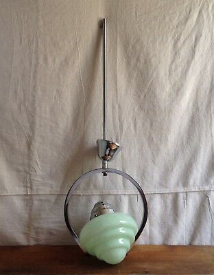 Antique Genuine Vintage Art Deco Green Glass Chrome Pendant Light