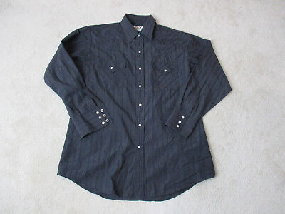 d8d6b67a2b Ely Cattleman Pearl Snap Shirt Size Adult Large Black Cowboy Western Rodeo  Mens