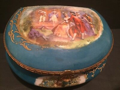 Beautiful Turquoise Sevres Style Porcelain Box Romantic Scenes Signed  Gil