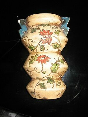 Early 1900 or late 1800's Wall Pocket Red Daisies with Green Leaves ANTIQUE