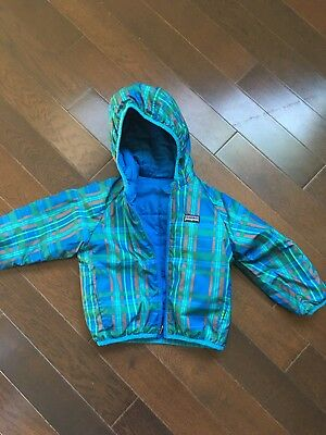 Patagonia Reversible Down Sweater Hoody Toddler Jacket Boys 2T Blue & Plaid