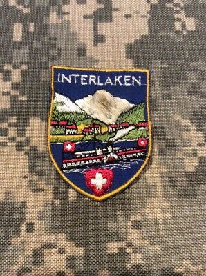 Vintage Souvenir Interlaken Switzerland Travel Patch Euc