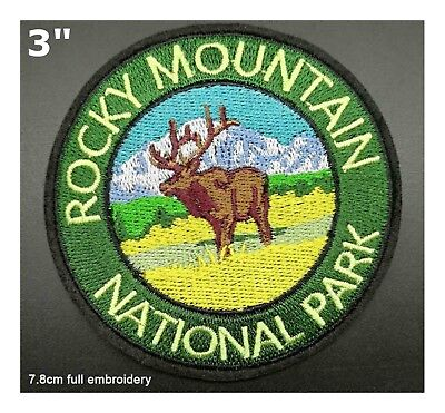 ROCKY MOUNTAINS National Park Patch Souvenir Travel Embroidered Iron / Sew-on