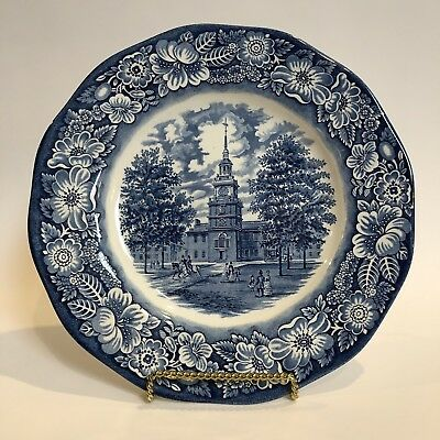 "Historic Colonial Scenes Independence Hall 10"" Liberty Blue Staffordshire Plate"