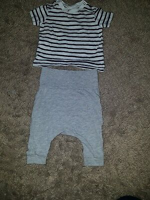 Baby Boy Next/H&M Grey trousers, stripey navy and white top ....up to 1 month