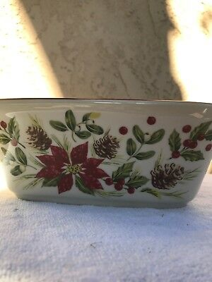 Longaberger Pottery Poinsettia Square Bowl