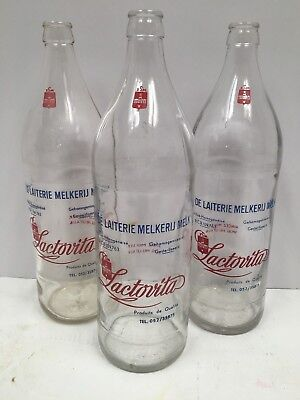 Vintage Liter Milk Bottles Set Of 3 From Belgium G6133b 11 56