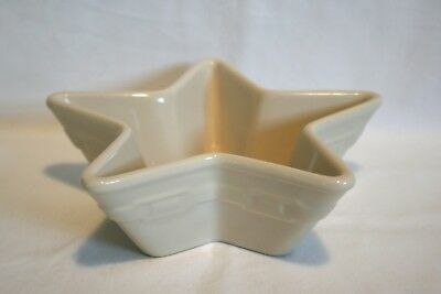 "Longaberger Woven Traditions Large Ivory 7""  Star Shape Dish Bowl"