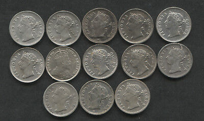 1890-1904 Hong Kong Lot of 13 Silver 5 Cents.