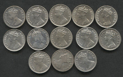 1866-1902 Hong Kong Lot of 13 Silver 10 Cent.