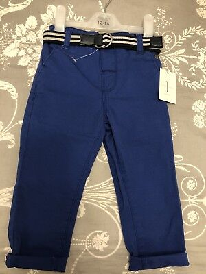 BOYS BRAND-NEW JASPER CONRAN SLIM  CHINOS WITH CONTRAST BELTS AGE 12-18months
