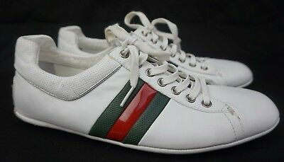 7bf8b7d6cfb Gucci Men s White Leather Web Sneakers Shoes Rubber Dots Drivers Size 8 G   ...