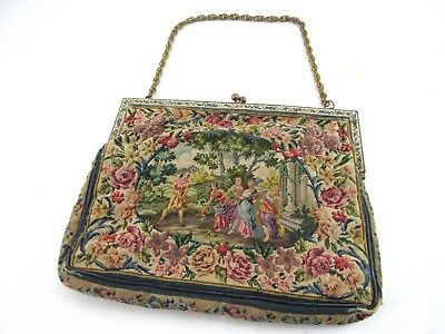 Antique Needlepoint Stained Glass Inlay Brass Ladies Purse Handbag Victorian