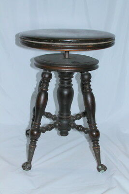 antique H. HOLTZMAN SONS WOOD PIANO STOOL Adjustable Claw foot Glass feet chair