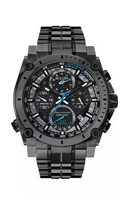 Bulova Precisionist Men's 98B229 Quartz Chronograph Black Dial Gray 46.5mm Watch