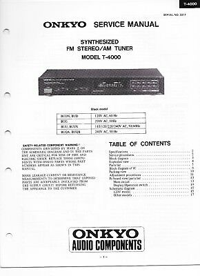 VINTAGE Onkyo Service Manual  T-4000 SYNTHESIZED FM/AM TUNER SUPER CONDITION