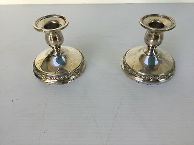 Pair of prelude international solid sterling silver candle holders