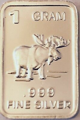 BEST JUNK DRAWER: 1 Gram .999 FINE SOLID SILVER BULLION - BU, ART ROUND: (MOOSE)