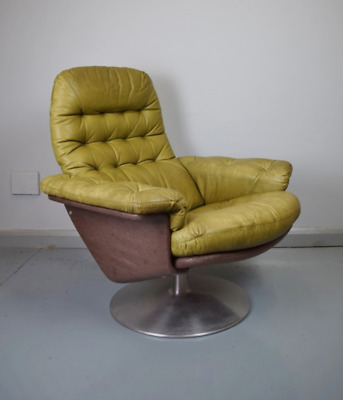 Mid Century Vintage Retro Swedish Green Leather Swivel Lounge Arm Chair By Dux