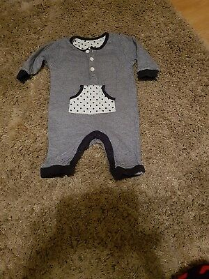Baby Boy M&S Navy and white sleepsuit....up to 3 months