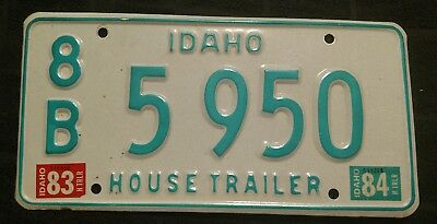Vintage 1983 Idaho House Trailer License Plate 8B5950