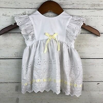 Baby & Toddler Clothing Vintage Baby Girl Yellow Smoked Top W Chick Embroidery Size 6m