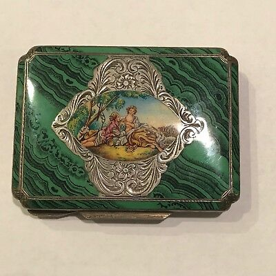 Beautiful Antique Italian Silver Hand Painted Enamel Engraved Box
