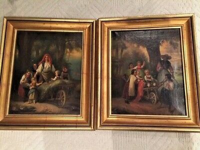 Antique pair of stunning 19th century  oil paintings  Signed T.S.