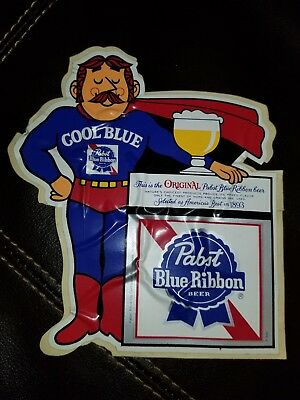 VINTAGE 1970s Pabst Blue Ribbon Cool Blue Mustache Guy Superhero Decal STICKER