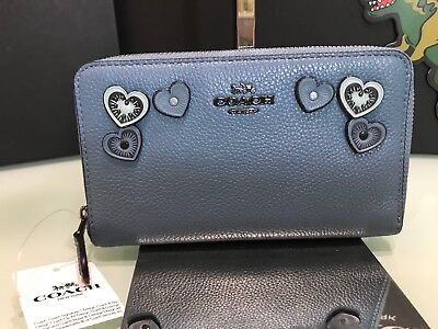 d15875e04fc7a3 Coach medium zip around wallet with hearts 29748 Chambray Dark Gunmetal