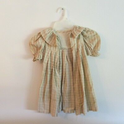 vintage Childs brown and cream checked dress 1940's