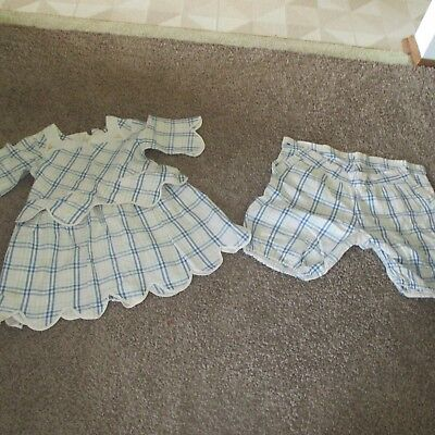 vintage Childs blue and white checked sun dress and shorts1940's