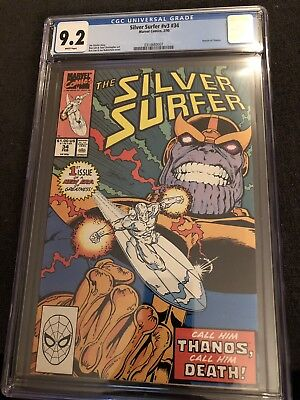 Silver Surfer #34 CGC 9.2 — White Pages — Return Of Thanos 1990 Classic Cover!!!