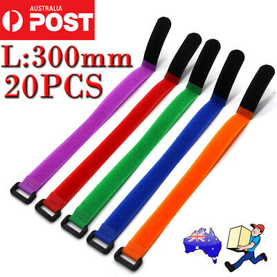 10-20pcs 5Color Cable Ties Velcro Strap Tape Cable Organizer 300mmx20mm