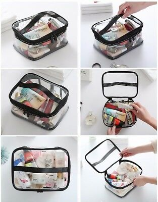 Women Makeup PVC Bag Handle Travel Bath Toiletry Organizer Holder Handbag Clear
