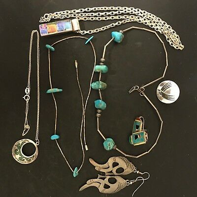 80+ grams SOUTHWESTERN/OTHER Silver Turquoise Pewter Egyptian READ BELOW SS-23