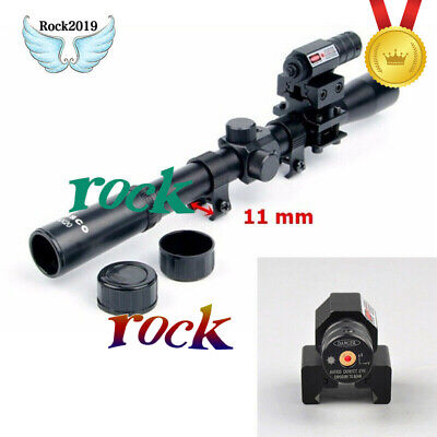 4x20Air RifleTelescopic Scope + Red Laser Sight+ 20mm Mount For 11Caliber Rifle