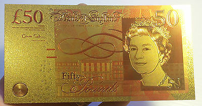 Spectacular 50 Pound Coloured 24K 999.0 Gold Foil Bank Note C.O.A. PACK English