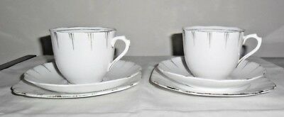 VINTAGE CROWN CHINA TRIO X 2 : ENGLAND : SCALLOP EDGES pattern no 8430